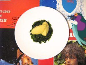Purée de topinambours sur salade chaude