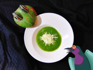 Recette de soupe froide aux poireaux, courgettes, yaourt de brebis & cannelle